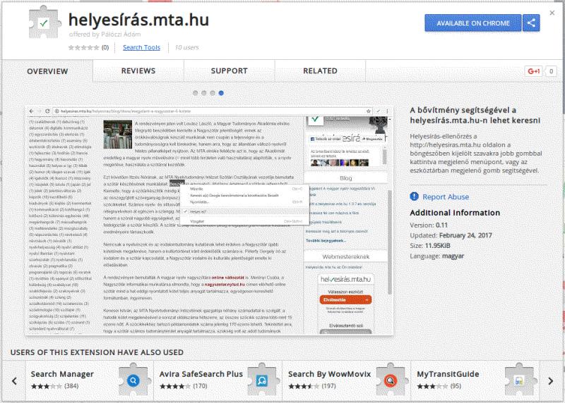 Helyesiras.mta.hu bővítmény készült a Google Chrome böngészőhöz
